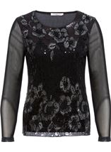 Anna Rose Long Sleeve Embellished Mesh Top Black/Silver - Gallery Image 1