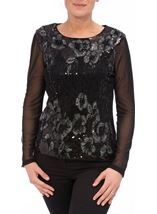 Anna Rose Long Sleeve Embellished Mesh Top Black/Silver - Gallery Image 2