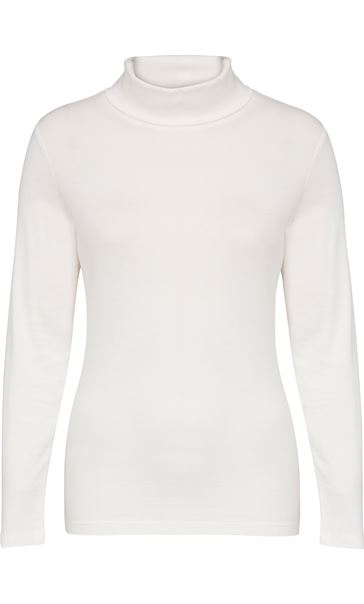 Long Sleeve Turtle Neck Jersey Top Winter White