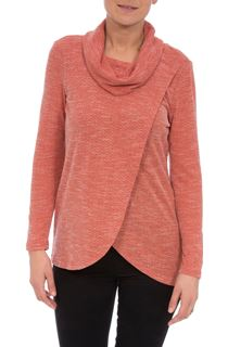 Cowl Neck Wrap Over Top - Rust