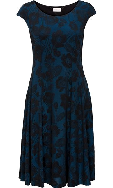 Anna Rose Glittering Floral Fully Lined Dress Blue/Black