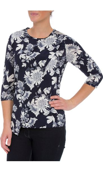 Anna Rose Floral Embellished Wrap Effect Top Navy/White