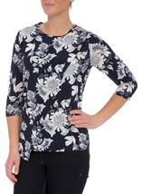 Anna Rose Floral Embellished Wrap Effect Top Navy/White - Gallery Image 1