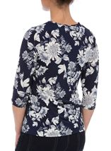 Anna Rose Floral Embellished Wrap Effect Top Navy/White - Gallery Image 2