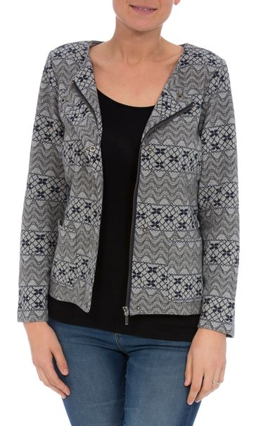 Unlined Strip and Print Jacket Grey/Navy - Gallery Image 2
