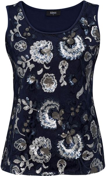 Floral Sequin And Lace Sleeveless Top Navy/Silver