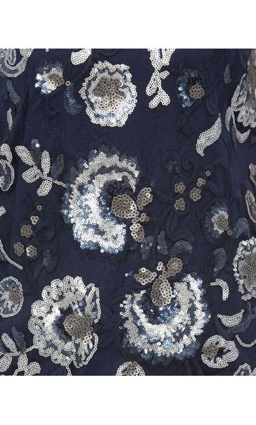 Floral Sequin And Lace Sleeveless Top Navy/Silver - Gallery Image 4