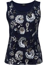 Floral Sequin And Lace Sleeveless Top Navy/Silver - Gallery Image 1