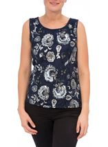 Floral Sequin And Lace Sleeveless Top Navy/Silver - Gallery Image 2