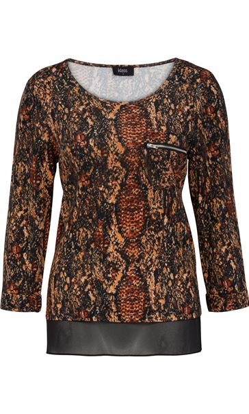 Snake Pattern Top With Chiffon Detail Black/Rust