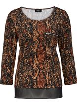 Snake Pattern Top With Chiffon Detail Black/Rust - Gallery Image 1