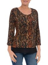 Snake Pattern Top With Chiffon Detail Black/Rust - Gallery Image 2