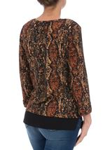 Snake Pattern Top With Chiffon Detail Black/Rust - Gallery Image 3