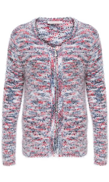 Anna Rose Eyelash Knit Zip Cardigan Red/Navy