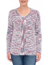 Anna Rose Eyelash Knit Zip Cardigan Red/Navy - Gallery Image 2