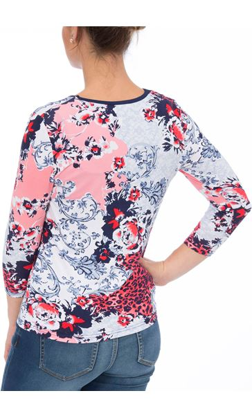 Anna Rose Printed Three Quarter Sleeve Top Red/Navy - Gallery Image 3