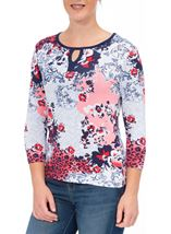 Anna Rose Printed Three Quarter Sleeve Top Red/Navy - Gallery Image 2