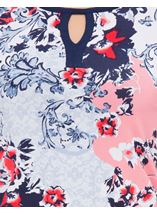 Anna Rose Printed Three Quarter Sleeve Top Red/Navy - Gallery Image 4