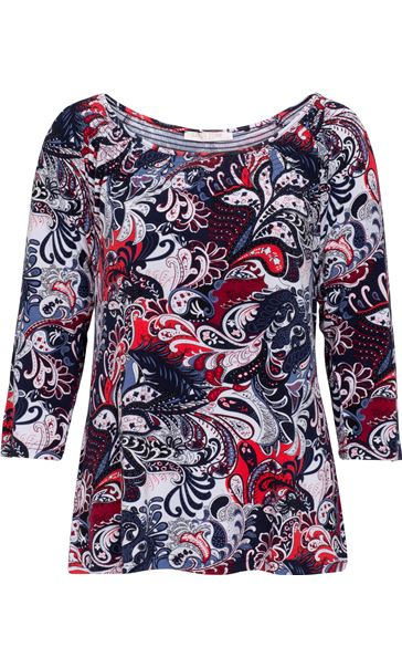 Anna Rose Printed Round Neck Top Red/Navy