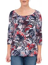 Anna Rose Printed Round Neck Top Red/Navy - Gallery Image 2