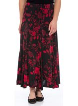 Anna Rose Floral Flare Panel Skirt Black/Red/Blue - Gallery Image 1
