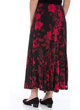 Anna Rose Floral Flare Panel Skirt Black/Red/Blue - Gallery Image 2