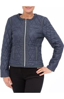 Collarless Quilted Short Coat