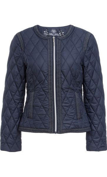 Collarless Quilted Short Coat Smokey Blue