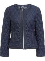 Collarless Quilted Short Coat Smokey Blue - Gallery Image 1