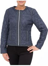 Collarless Quilted Short Coat Smokey Blue - Gallery Image 2