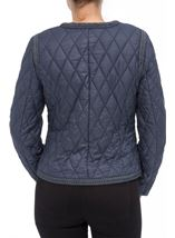 Collarless Quilted Short Coat Smokey Blue - Gallery Image 3