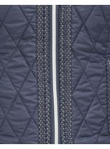 Collarless Quilted Short Coat Smokey Blue - Gallery Image 4