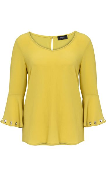 Three Quarter Eyelet Bell Sleeve Top Lime