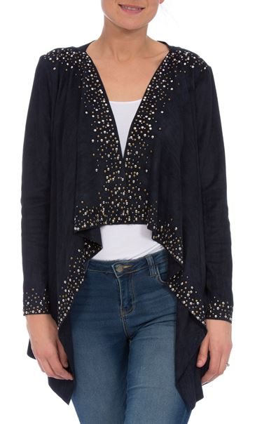Suedette Long Sleeve Embellished Drape Cardigan Navy