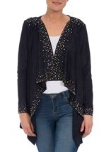 Suedette Long Sleeve Embellished Drape Cardigan Navy - Gallery Image 1