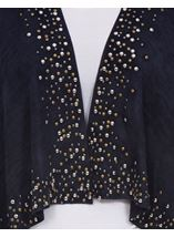 Suedette Long Sleeve Embellished Drape Cardigan Navy - Gallery Image 3