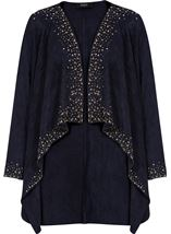 Suedette Long Sleeve Embellished Drape Cardigan Navy - Gallery Image 4