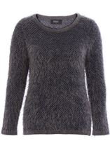 Stripe Eyelash Long Sleeve Knit Top Navy/Grey - Gallery Image 1