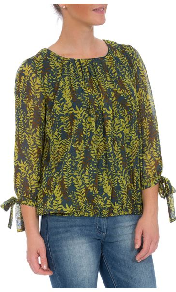 Three Quarter Tie Sleeve Botanical Print Georgette Top Green Leaf