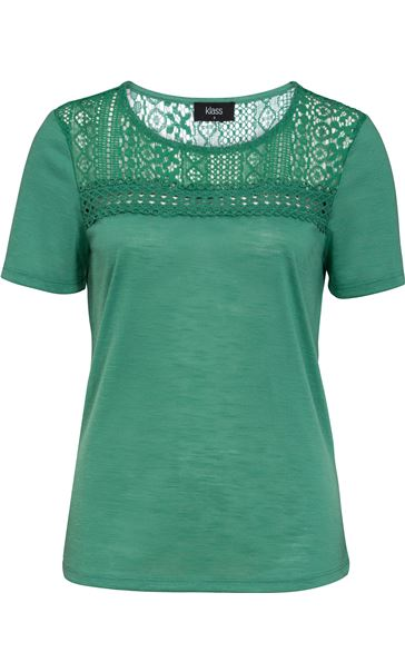 Lace Trim Short Sleeve Top Sage