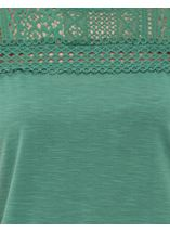 Lace Trim Short Sleeve Top Sage - Gallery Image 4