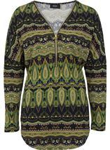 Printed Brushed Knit Long Sleeve Tunic Lime/Navy - Gallery Image 1