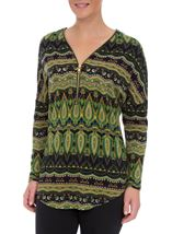 Printed Brushed Knit Long Sleeve Tunic Lime/Navy - Gallery Image 2