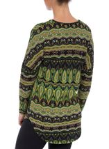 Printed Brushed Knit Long Sleeve Tunic Lime/Navy - Gallery Image 3