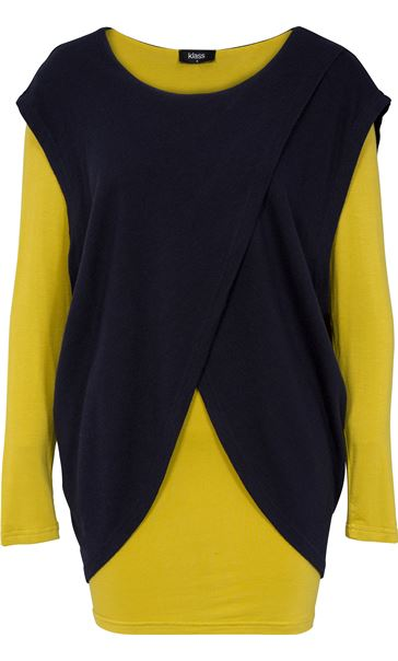 Two Piece Layered Long Sleeve Top Navy/Lime