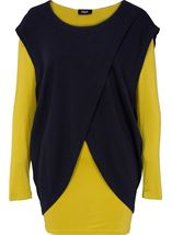 Two Piece Layered Long Sleeve Top Navy/Lime - Gallery Image 1
