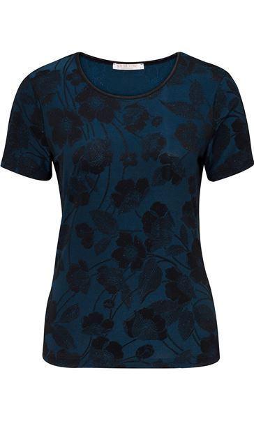 Anna Rose Floral Jacquard Shimmer Short Sleeve Top Blue/Black