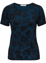 Anna Rose Floral Jacquard Shimmer Short Sleeve Top Blue/Black - Gallery Image 1