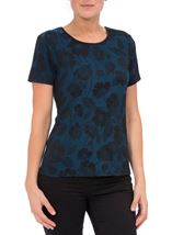 Anna Rose Floral Jacquard Shimmer Short Sleeve Top Blue/Black - Gallery Image 2