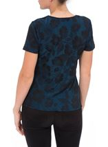 Anna Rose Floral Jacquard Shimmer Short Sleeve Top Blue/Black - Gallery Image 3